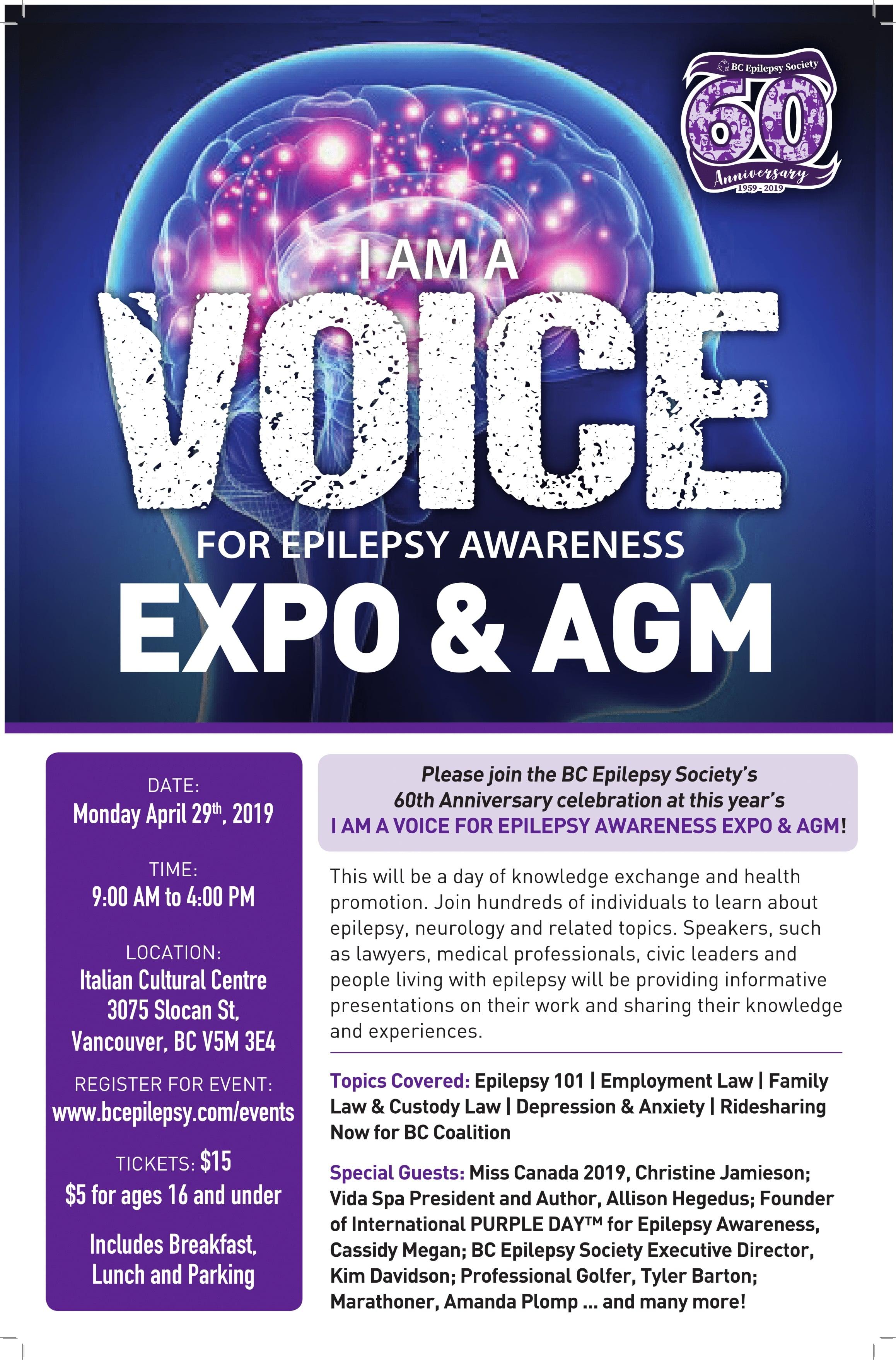 I Am A Voice for Epilepsy Awareness Expo & AGM Logo